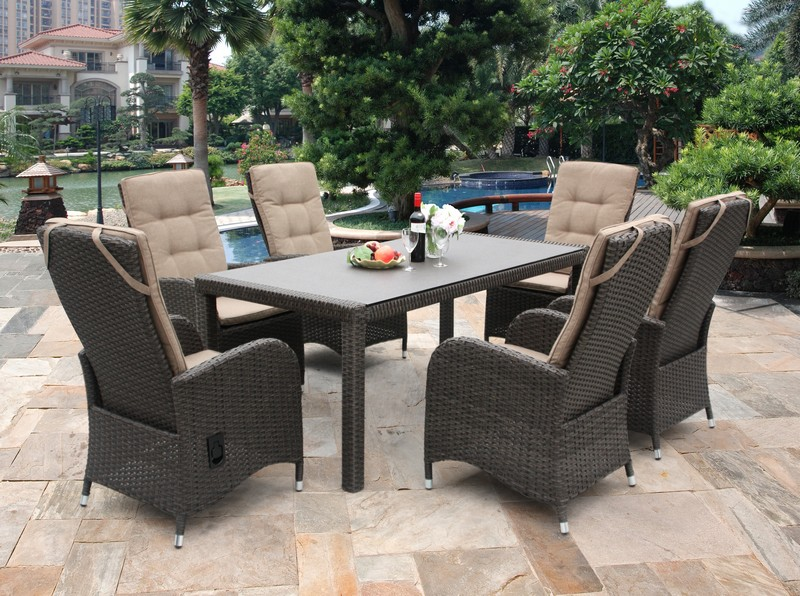 reclining 6 seater rattan dining set - Rattan Garden Furniture 6 Seater